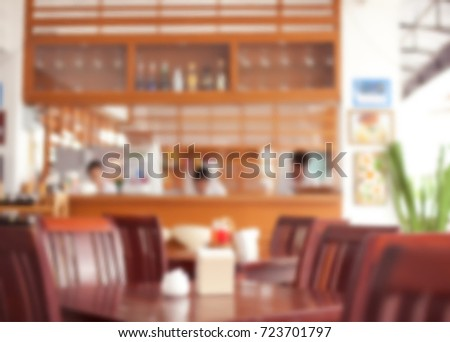 Blurred vector background for design from photography. restaurant, tables, cooks and waiters.