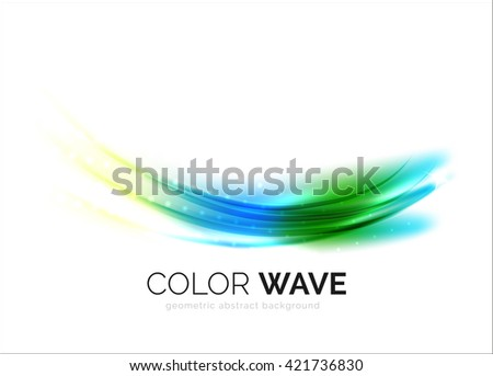 Blurred vector wave design elements with shiny light effects - stock vector