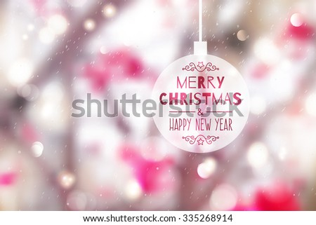 blurred winter background of branches, red berries and snow, merry christmas and happy new year - stock vector