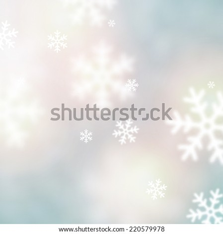 Blurred winter background with defocused snowflakes. Christmas illustration. - stock vector