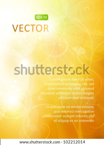 Blurry background in shades of warm golden orange and brown shades with overlying semitransparent circles, light effects and sun burst. Great as summer or autumn background. Space for your text. EPS10