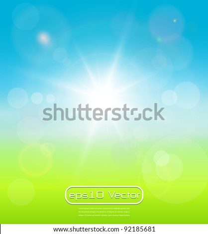 Blurry background spring or summer, blue sky with glaring sun. - stock vector