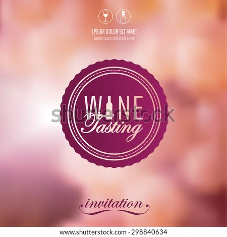blurry background with grapes. Label for wine tasting. Suggestive background, soft and elegant. Fresh background with natural fruits. Vector. - stock vector