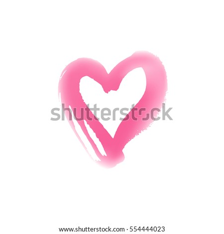 Blurry hand drawn heart symbol. Vector illustration. Icon for Valentines Day cards. Grunge shape design. Love emblem
