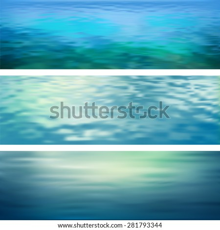 Blurry vector abstract water ripple banners. Marine panoramic landscape - stock vector