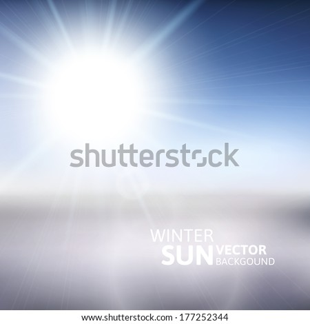 Blurry white mountain, and blur blue sky with winter sun burst, vector illustration - stock vector