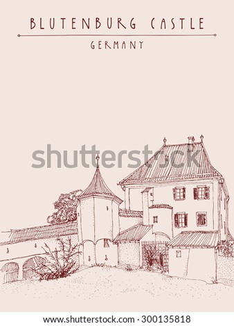 Blutenburg castle near Munich, Bavaria, Germany, Europe. Vector retro style artistic sketchy freehand illustration.  Ink pen line art. Travel poster postcard greeting card graphic design template