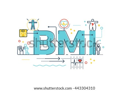 BMI : Body Mass Index word lettering typography design illustration with line icons and ornaments in blue theme - stock vector