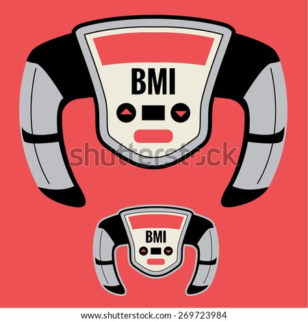 BMI Machine, Monitor, or Meter that Measures your Body Mass Index Factor, including Obesity Level based on your Height to Weight Ratio.  Can Help Improve your Health by Knowledge of Your BMI Number. - stock vector