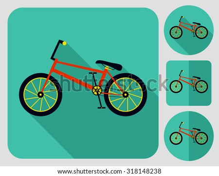 BMX bike icon. Flat long shadow design. Bicycle icons series. - stock vector