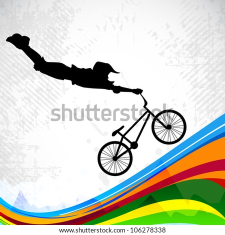 BMX cyclist performing stunt on abstract colorful wave background. EPS 10. - stock vector