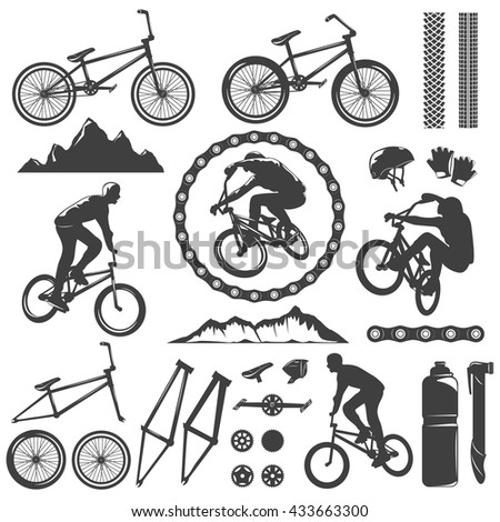 BMX decorative graphic icons set with bike bicyclist chain frame pedal rock track helmet isolated vector illustration - stock vector
