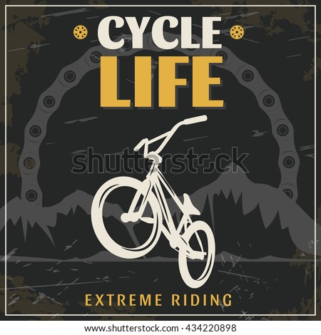 BMX extreme riding vintage poster with white bicycle in center black grey mountains in background vector illustration  - stock vector