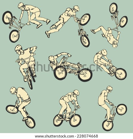 BMX Free style sport collection - stock vector