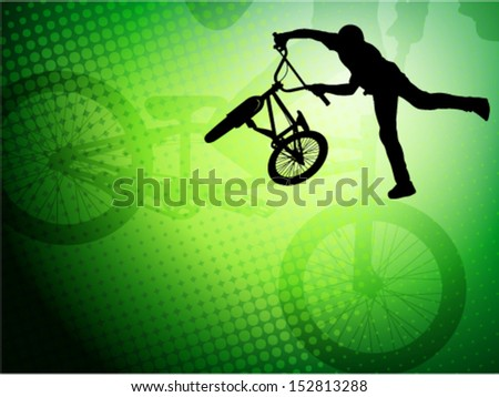 bmx stunt cyclist on the abstract background  - stock vector
