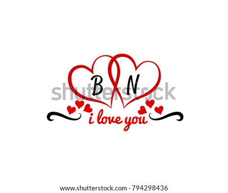 BN Initial Inside Hearts Wedding Invitation Stock Vector HD Royalty