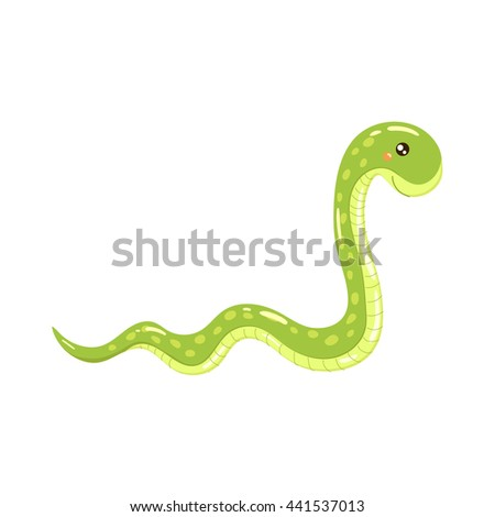 Boa Snake Realistic Childish Illustration
