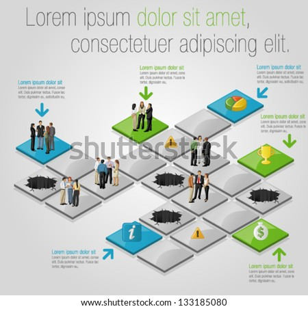 Board game with business people over path. Board game. - stock vector