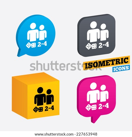 Board games sign icon. From two to four players symbol. Dice sign. Isometric speech bubbles and cube. Rotated icons with edges. Vector - stock vector