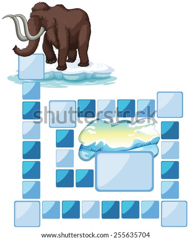 boardgame with a mammoth and iceberg - stock vector