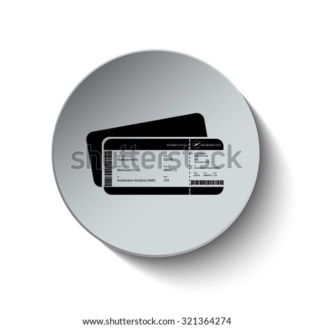 Boarding pass icon. Air ticket icon. Rounded button. Vector Illustration. EPS10 - stock vector