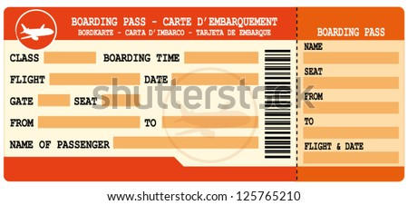Boarding pass. Red flight coupon. Vector ticket. - stock vector