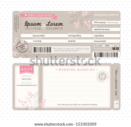 Boarding Pass Ticket Wedding Invitation Template  Plane Ticket Invitation Template