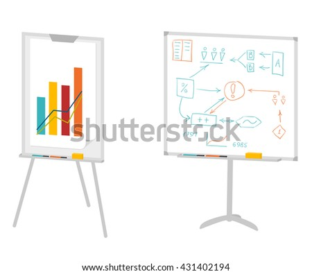 Boards for presentation, flipchart, whiteboard or projection screen. Flat design. Vector illustration isolated on white - stock vector