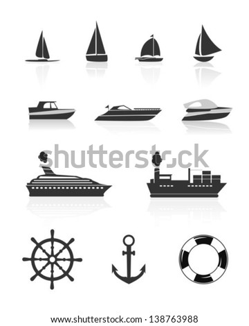 Boat and yacht icons - stock vector