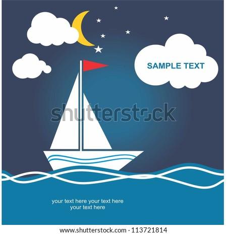boat, at night - stock vector