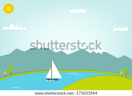 boat at sea on background of mountains - stock vector