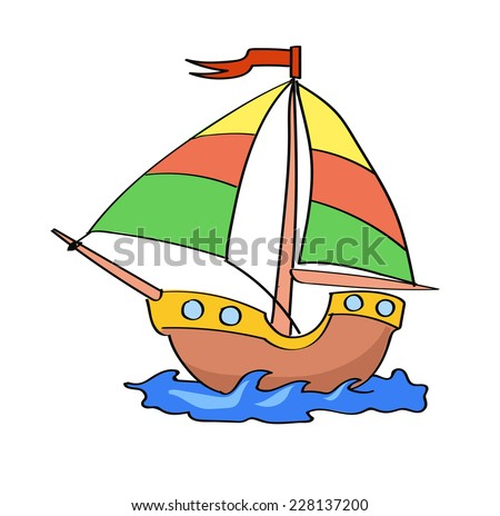 boat cartoon colorful   on a white background - stock vector