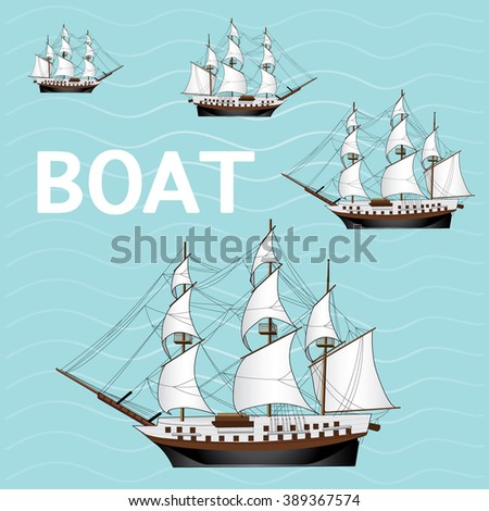 boat cartoon vector