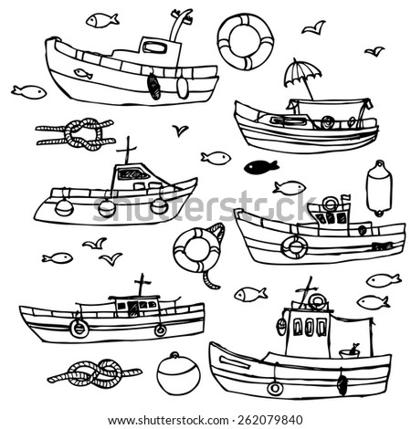 Boat collection in black and white, in vector - stock vector