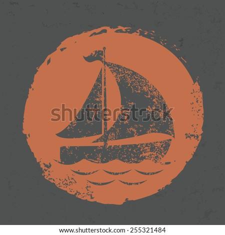 Boat design on grunge background, grunge vector - stock vector