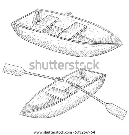 Boat Hand Drawn Sketch Vector Illustration Isolated On White Background