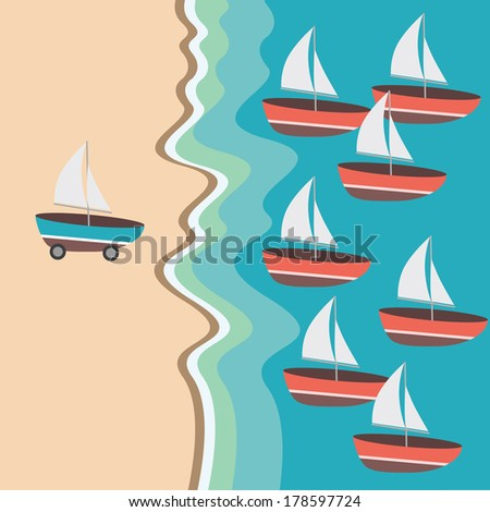 Boat has wheels on beach and boats on sea. Concept Leadership - stock vector