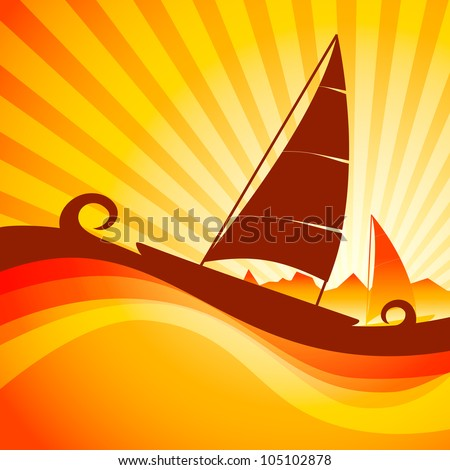 Boat in sea with waves on beautiful abstract background. EPS 10. - stock vector