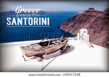 Boat in the roof Santorini, Cyclades, Greece - stock vector