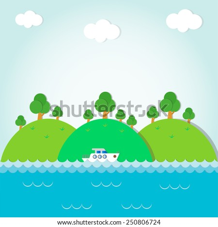boat on a background of mountains,greeting card,vector illustration - stock vector