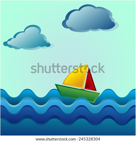 Boat On Sea,travel vector