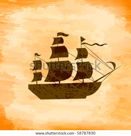 Boat on the background grunge - stock vector