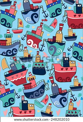 boat pattern - stock vector