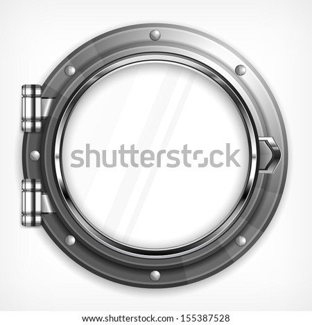 Boat round porthole seascape isolated on white, vector illustration - stock vector