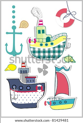 boat summer card - stock vector