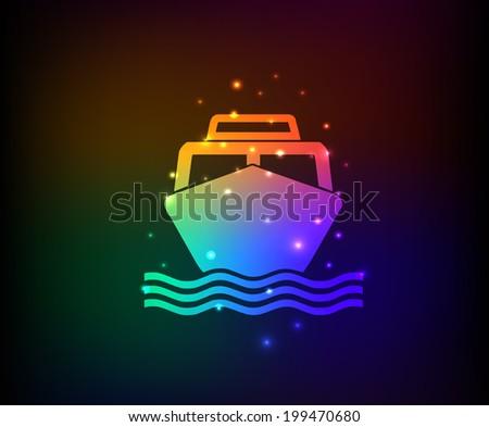 Boat symbol,Rainbow vector - stock vector