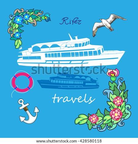 Boat vector illustration flowers seagull - stock vector