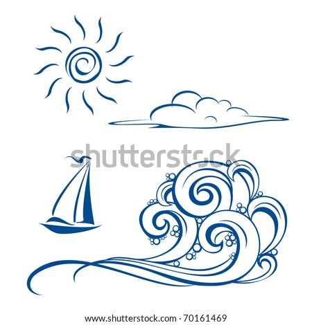 Boat waves, clouds and sun. Vector illustration on white