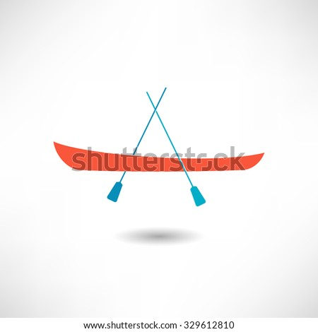 Boat with oars icon - stock vector