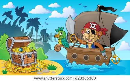 Boat with pirate monkey theme 3 - eps10 vector illustration.